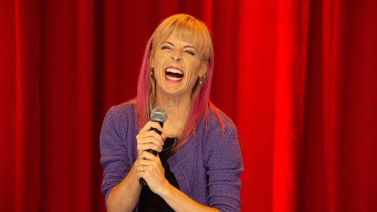 comedian Maria Bamford on stage